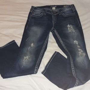 Destroyed Bling Silver Berkley Surplus Jeans 29